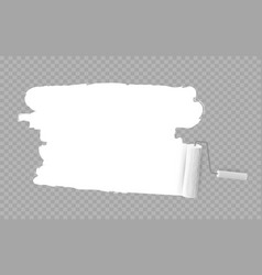 roller brush painting white over transparent vector image