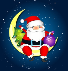 Santa on moon vector image
