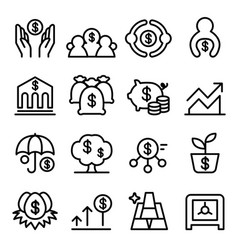 Saving money icon set in thin line style vector