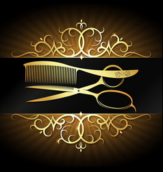 scissors and comb with gold ornament frame vector image