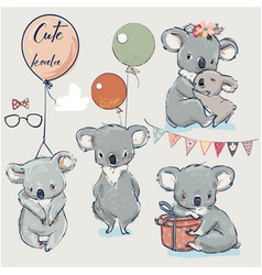 se with little koalas and balloons vector image