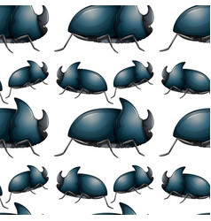 Seamless pattern tile cartoon with beetles vector
