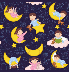 Seamless pattern with babies on moon vector