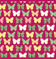 seamless pattern with colorful cute butterflies vector image