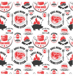 seamless pattern with steak house symbols grill vector image