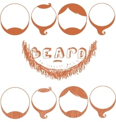 Set of Beard Silhouettes Types of Beards vector image