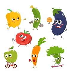 Set of funny cartoon vegetables doing sport vector