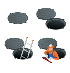 Sewer hatch open and closed manhole cover road vector