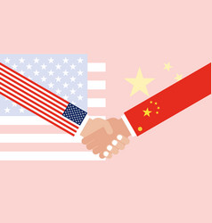 Shaking hands with china flag and united states vector
