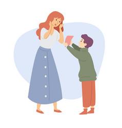 Son gives mother a gift congratultion celebration vector