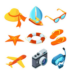 summer time isometric travelling symbols vector image