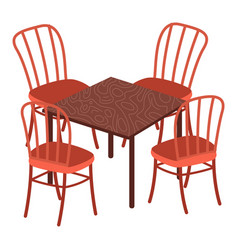 Table and chairs indoor or outdoor furniture vector