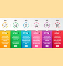 Takeaway coffee teamwork and sign out icons set vector