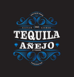 Tequila anejo label packaging curl decor vector
