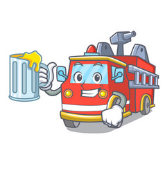 With juice fire truck mascot cartoon vector
