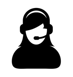Woman customer care service and support icon vector