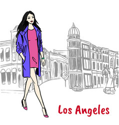 Woman walking on rodeo drive vector