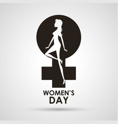 Womens day gender symbol with girl vector