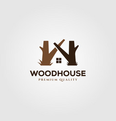 wooden house logo symbol design vector image