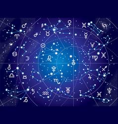 Xii constellations zodiac ultraviolet vector
