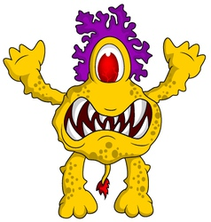 yellow monster cartoon vector image