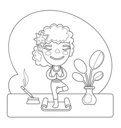 yoga instructor coloring page vector image