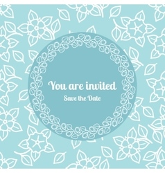 You are invited wedding floral card template vector image vector image