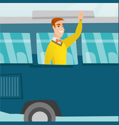 young caucasian man waving hand from bus window vector image