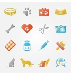 Bright veterinary pet icons set vector