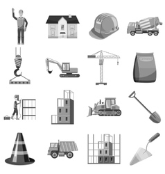 Construction icons set gray monochrome style vector image