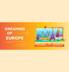 dreaming of europe - flat design web banner with vector image vector image