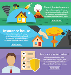 insurance safe banner horizontal set flat style vector image vector image