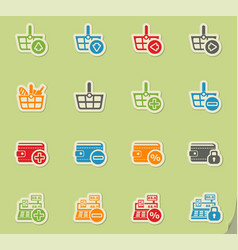 marketing and e-commerce icon set vector image