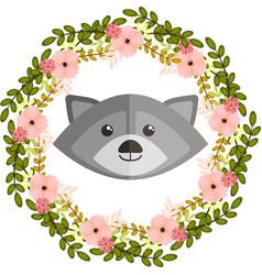 Raccoon and floral wreath vector