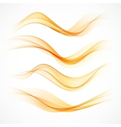 Set of orange wavy banners vector image