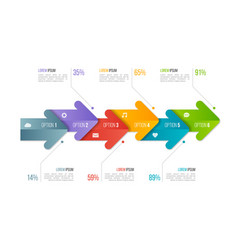 timeline chart infographic template with arrows 6 vector image