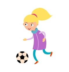 Young child girl playing football vector image