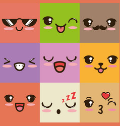 cute kawaii emoticon face vector image