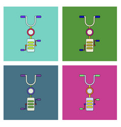 Flat icon design collection kids bicycle vector