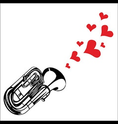Heart love music trumpet playing a song for valent vector image vector image