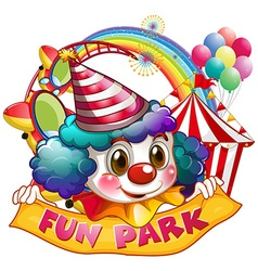 Jester and fun park sign vector image vector image