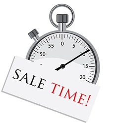 Stopwatch with text sale time vector image vector image