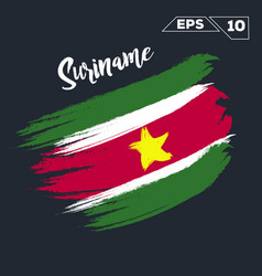 suriname flag brush strokes painted vector image