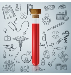 Test tube and hand draw medicine icon vector image vector image