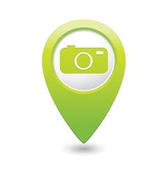 camera icon on map pointer green vector image vector image