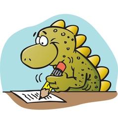 Cartoon Dinosaur Writing vector image vector image
