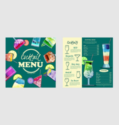 cocktail menu design templatecocktail list cover vector image vector image