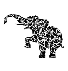 Elephant Floral Ornament Decoration vector image