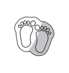 sticker baby paint footprint standing in vector image