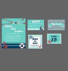 wedding invitation cards set nautical style vector image vector image
